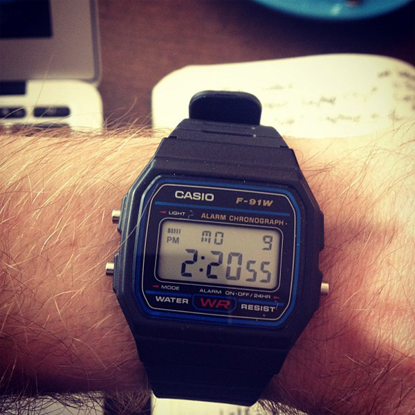 A retro Casio F-91W wristwatch that I just bought.