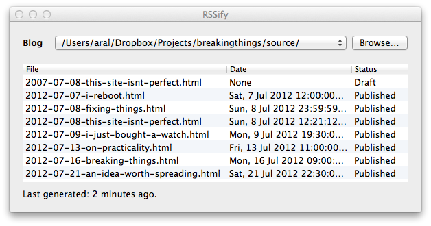 Screenshot of my quick little Mac app that regerates the RSS feed whenever I update my blog.